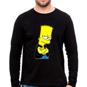 Изображение Лонгслив мужской черный Барт Симпсон в жилетке