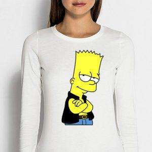 Изображение Лонгслив женский белый Барт Симпсон в жилетке