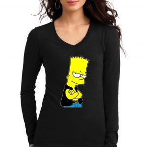 Изображение Лонгслив  женский черный Барт Симпсон в жилетке