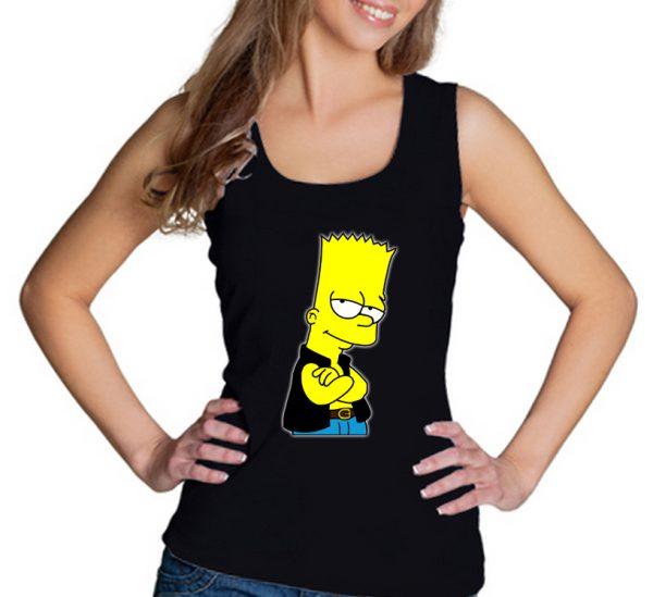 Изображение Майка женская черная Барт Симпсон в жилетке