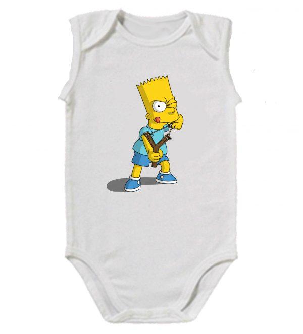 Изображение Детское боди белое Барт Симпсон с рогаткой
