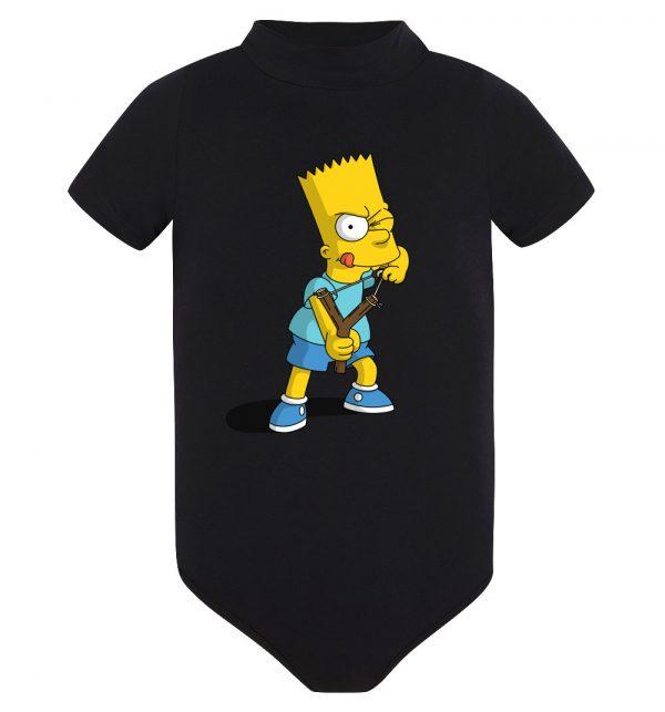 Изображение Детское боди черное Барт Симпсон с рогаткой