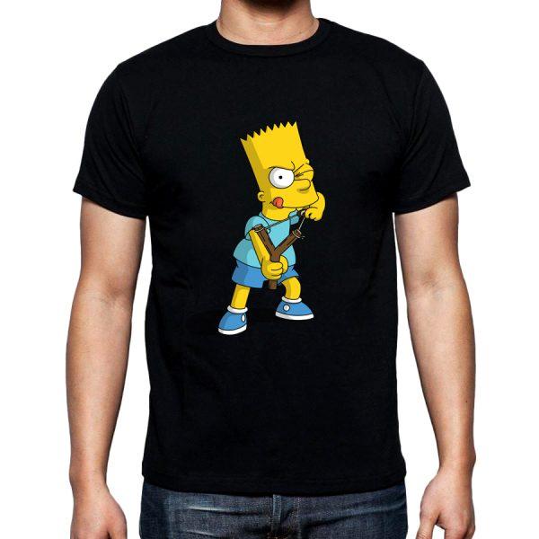 Изображение Футболка мужская черная Барт Симпсон с рогаткой