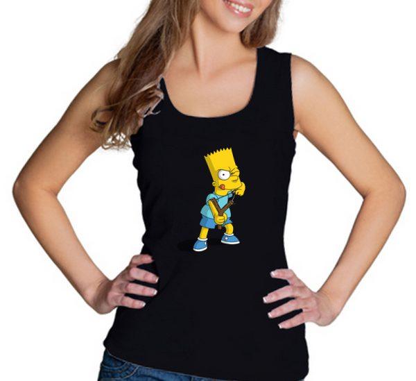 Изображение Майка женская черная Барт Симпсон с рогаткой