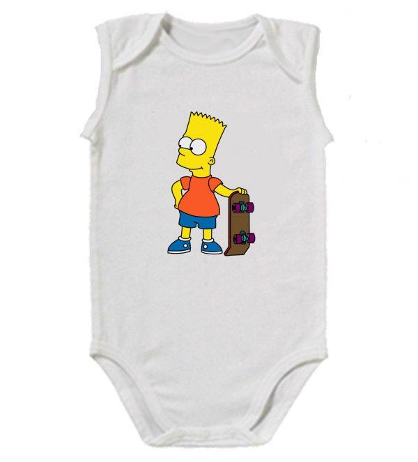Изображение Детское боди белое Барт Симпсон Скейт