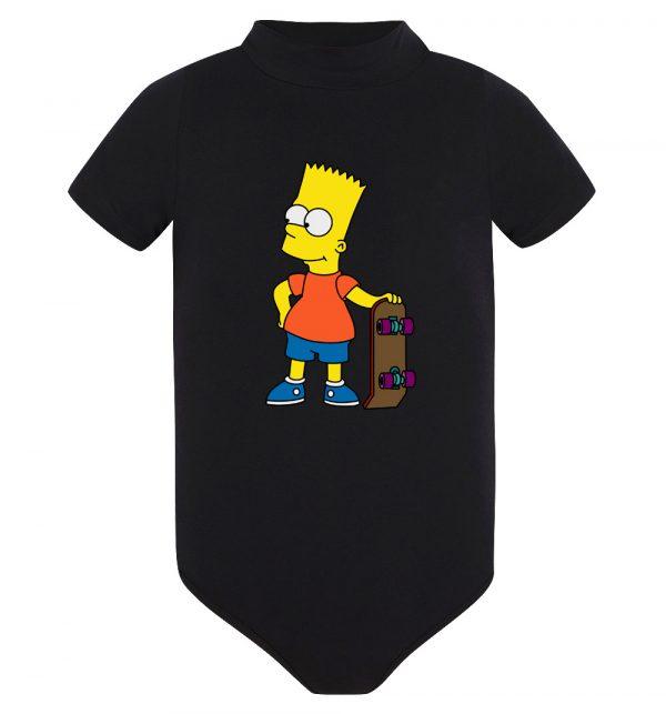 Изображение Детское боди черное Барт Симпсон Скейт