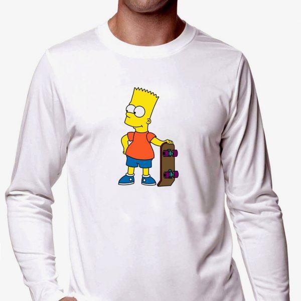 Изображение Лонгслив мужской белый Барт Симпсон Скейт