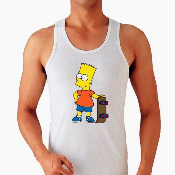 Изображение Майка мужская белая Барт Симпсон Скейт