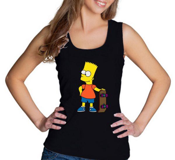 Изображение Майка женская черная Барт Симпсон Скейт