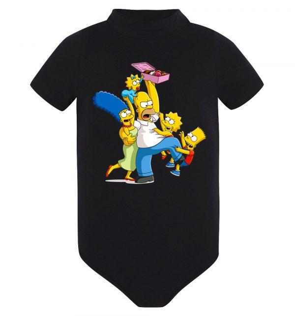 Изображение Детское боди черное Симпсоны и пончики