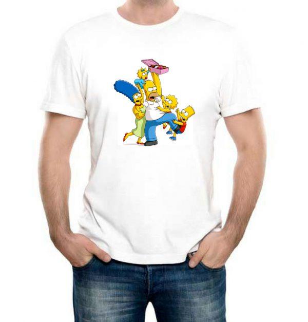 Изображение Футболка мужская белая Симпсоны и пончики
