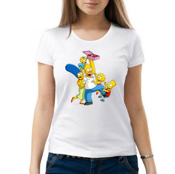 Изображение Футболка женская белая Симпсоны и пончики