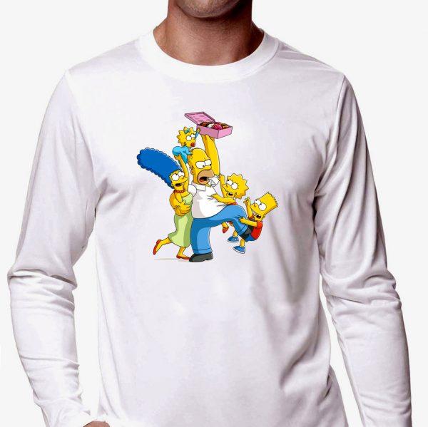 Изображение Лонгслив мужской белый Симпсоны и пончики