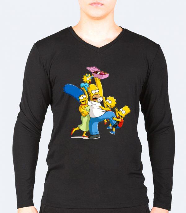 Изображение Лонгслив мужской черный Симпсоны и пончики