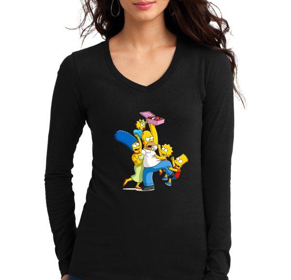 Изображение Лонгслив  женский черный Симпсоны и пончики