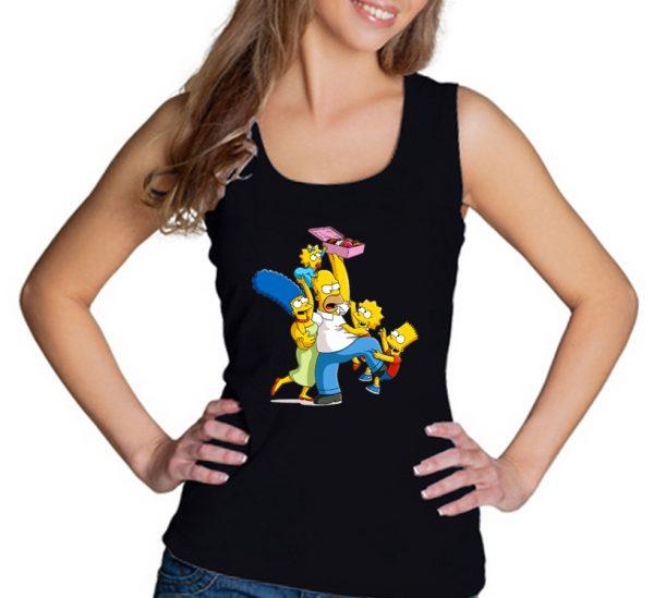 Изображение Майка женская черная Симпсоны и пончики