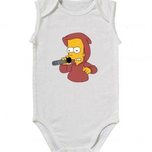 Изображение Детское боди белое Барт Симпсон с микрофоном