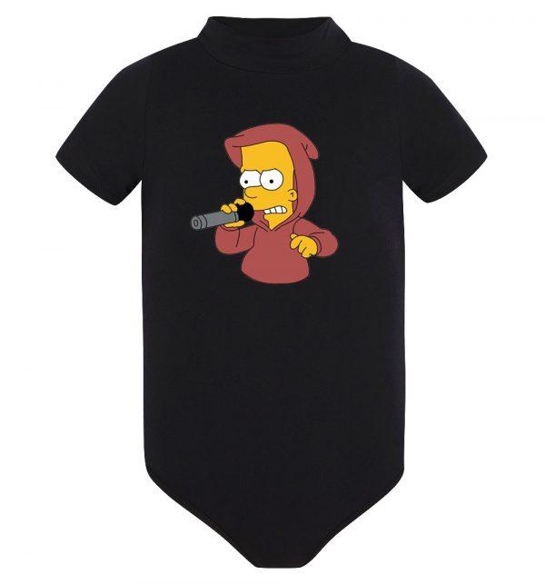 Изображение Детское боди черное Барт Симпсон с микрофоном