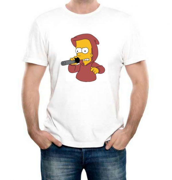 Изображение Футболка мужская белая Барт Симпсон с микрофоном