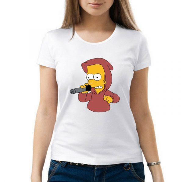 Изображение Футболка женская белая Барт Симпсон с микрофоном
