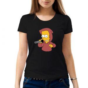 Изображение Футболка женская черная Барт Симпсон с микрофоном