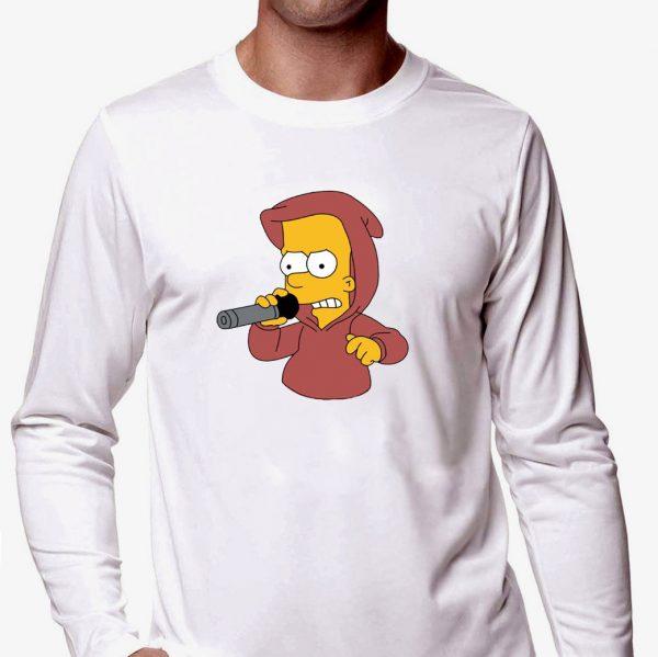 Изображение Лонгслив мужской белый Барт Симпсон с микрофоном
