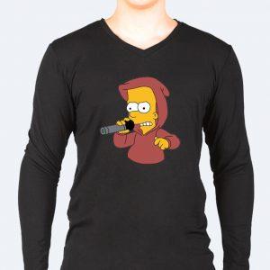 Изображение Лонгслив мужской черный Барт Симпсон с микрофоном