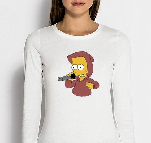 Изображение Лонгслив женский белый Барт Симпсон с микрофоном
