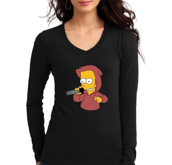 Изображение Лонгслив женский черный Барт Симпсон с микрофоном