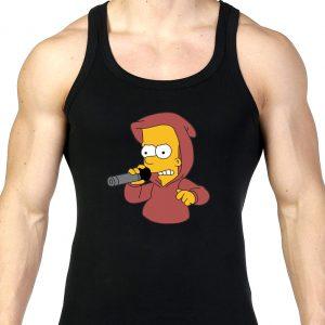 Изображение Майка мужская черная Барт Симпсон с микрофоном