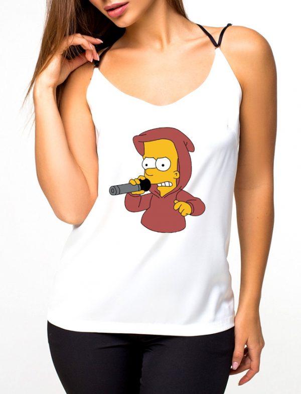 Изображение Майка женская белая Барт Симпсон с микрофоном