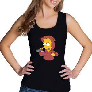 Изображение Майка женская черная Барт Симпсон с микрофоном
