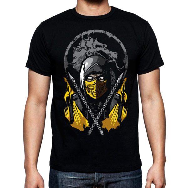 Изображение Футболка мужская черная Mortal Kombat Scorpion Арт