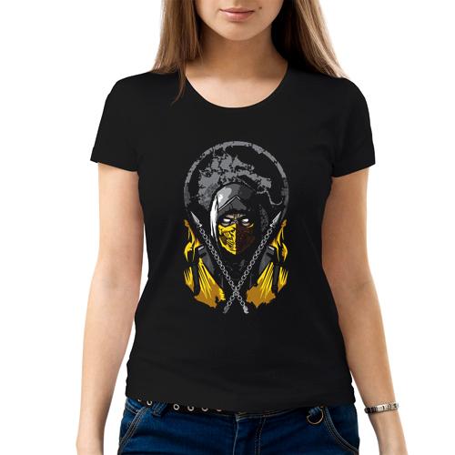 Изображение Футболка женская черная Mortal Kombat Scorpion Арт