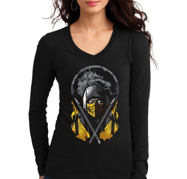 Изображение Лонгслив  женский черный Mortal Kombat Scorpion Арт