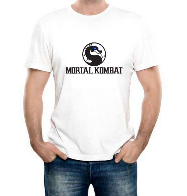 Изображение Футболка мужская белая Mortal Kombat Черное Лого