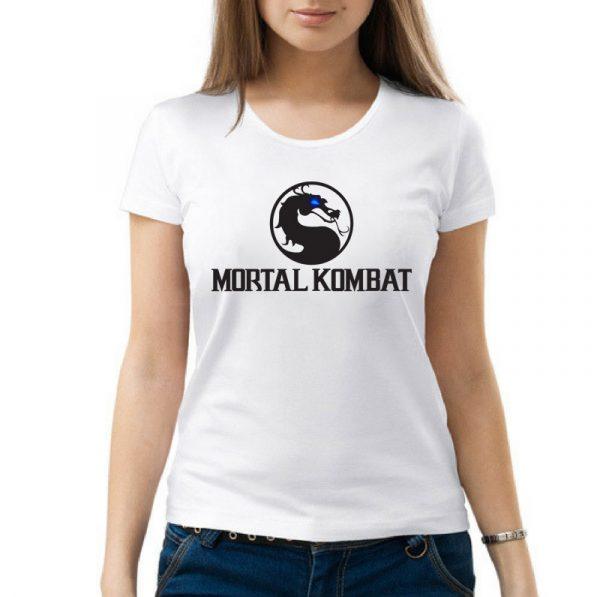Изображение Футболка женская белая Mortal Kombat Черное Лого