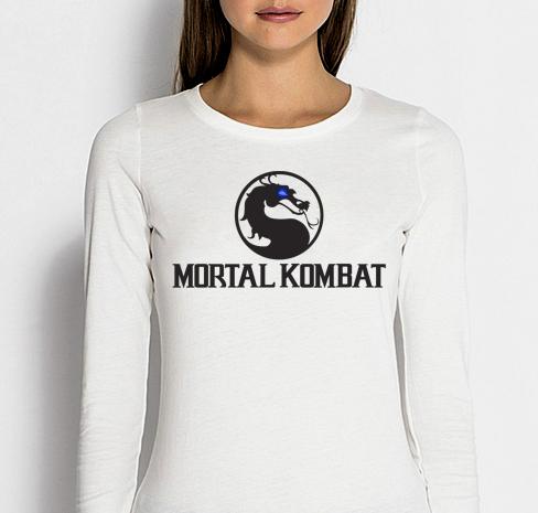 Изображение Лонгслив женский белый Mortal Kombat Черное Лого