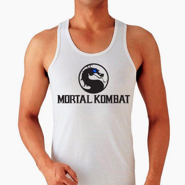 Изображение Майка мужская белая Mortal Kombat Черное Лого