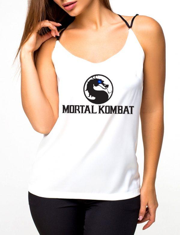 Изображение Майка женская белая Mortal Kombat Черное Лого