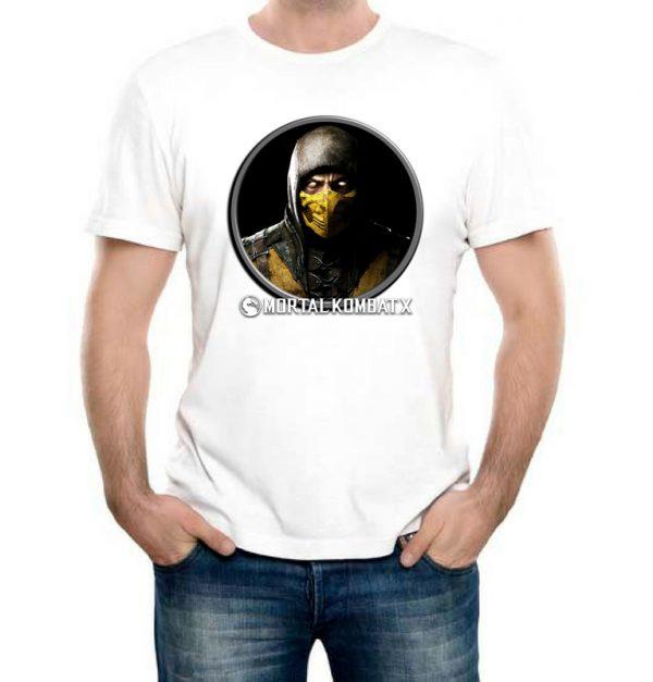 Изображение Футболка мужская белая Mortal Kombat Scorpion