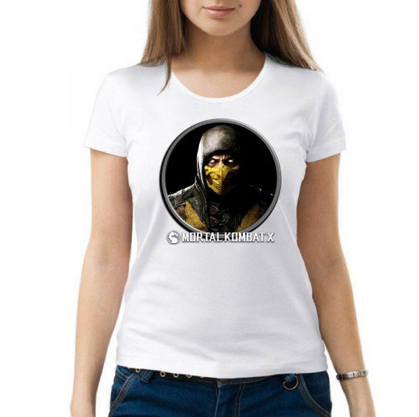 Изображение Футболка женская белая Mortal Kombat Scorpion