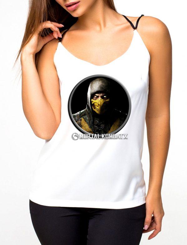 Изображение Майка женская белая Mortal Kombat Scorpion