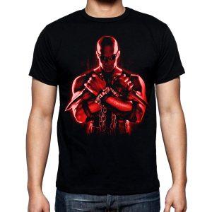 Изображение Футболка мужская черная Риддик красный арт