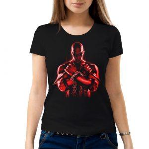 Изображение Футболка женская черная Риддик красный арт