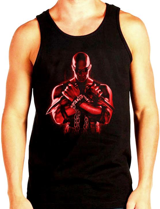 Изображение Майка мужская черная Риддик красный арт
